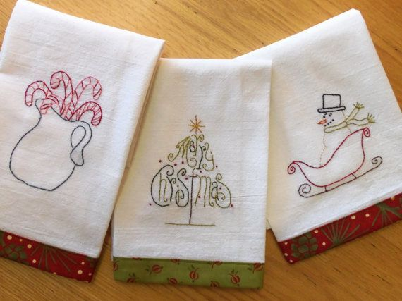 Embroidery Designs For Tea Towels | Christmas Tea Towel Embroidery Pattern