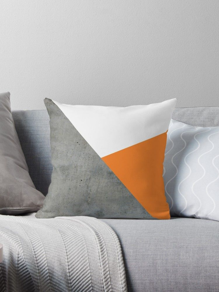 Concrete Tangerine White Throw Pillow By By Jwp White Throw Pillows Throw Pillows Yellow Throw Pillows