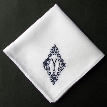 イニシャル刺繍ハンカチ(NAVY) - YLINUM Online Shop - イリナム - モノグラム刺繍ハンカチ