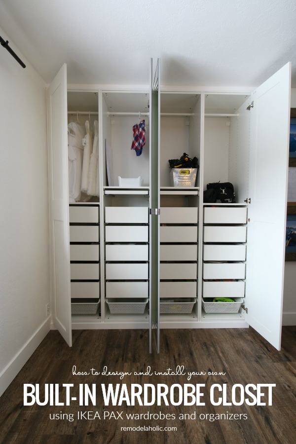 Come See How To Remake A Closet Using Ikea Pax Wardrobe Pieces You Ll Love The Finished Product From Remod In 2020 Build A Closet Shared Girls Room Ikea Pax Wardrobe