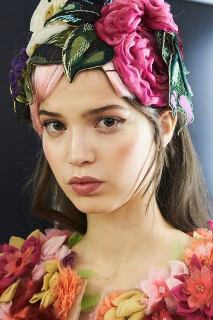 Dolce&Gabbana Fall 2016 Backstage Beauty | Pat McGrath created a rose-toned beauty look at Dolce & Gabbana, with an ombre petal lip, flushed cheeks and flawless skin.