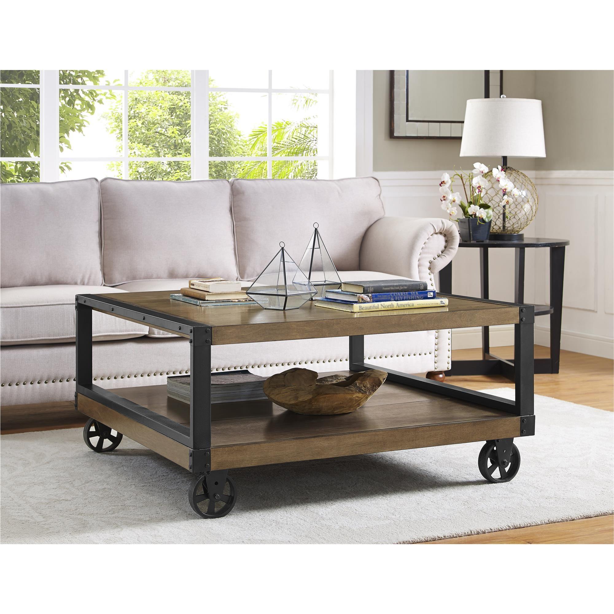 Dorel Home Furnishings Wade Rustic Gray Wood Veneer Coffee Table