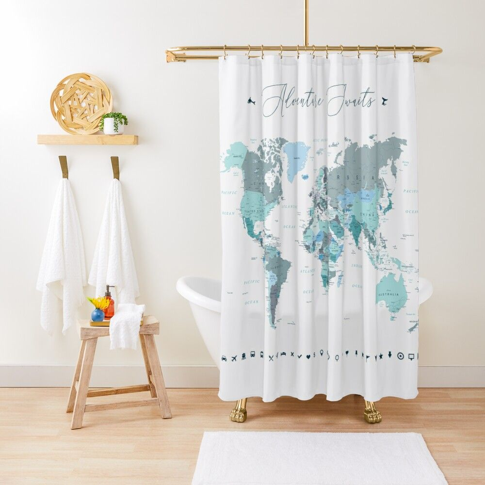 Adventure Awaits World Map In Teal Shower Curtain In 2020 Teal