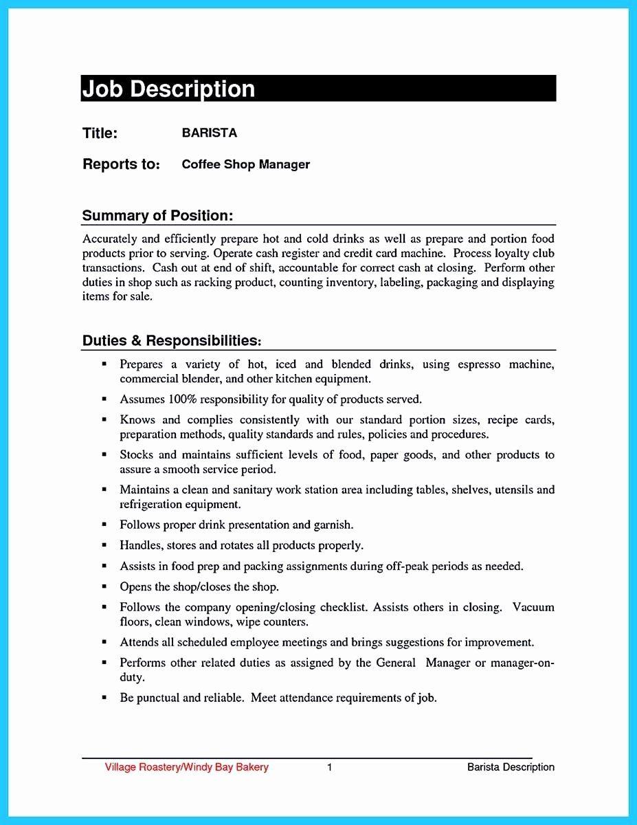 23 Starbucks Barista Job Description Resume in 2020 (With