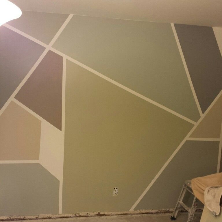 Frog Tape Geometric Home Gym Wall Paint Project Before Baseboards Went In