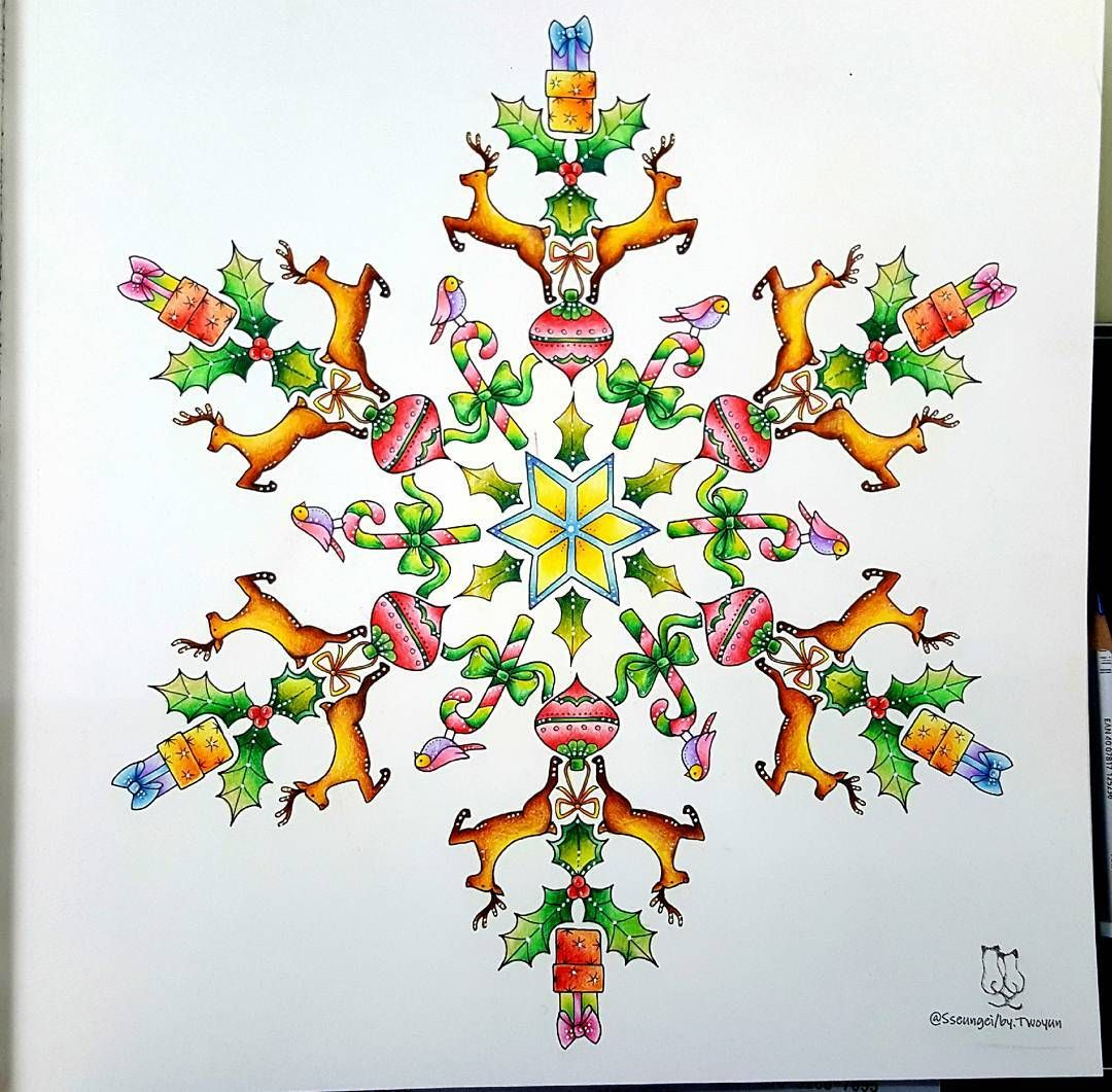 Johannas Christmas Coloring Book No4 The Finished Painting Colored Pencil See Tag