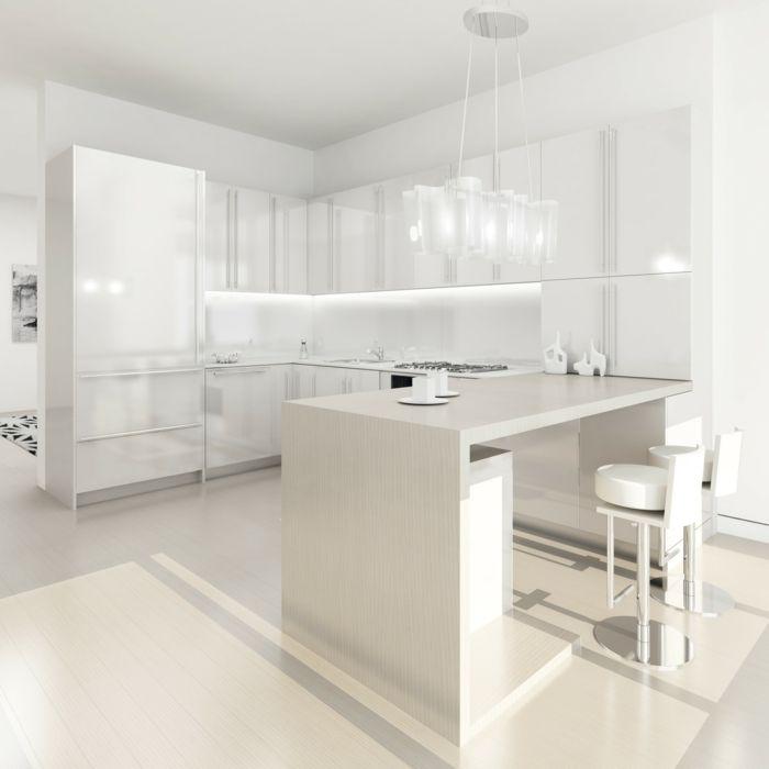 wände streichen ideen weiße küche kücheninsel led beleuchtung
