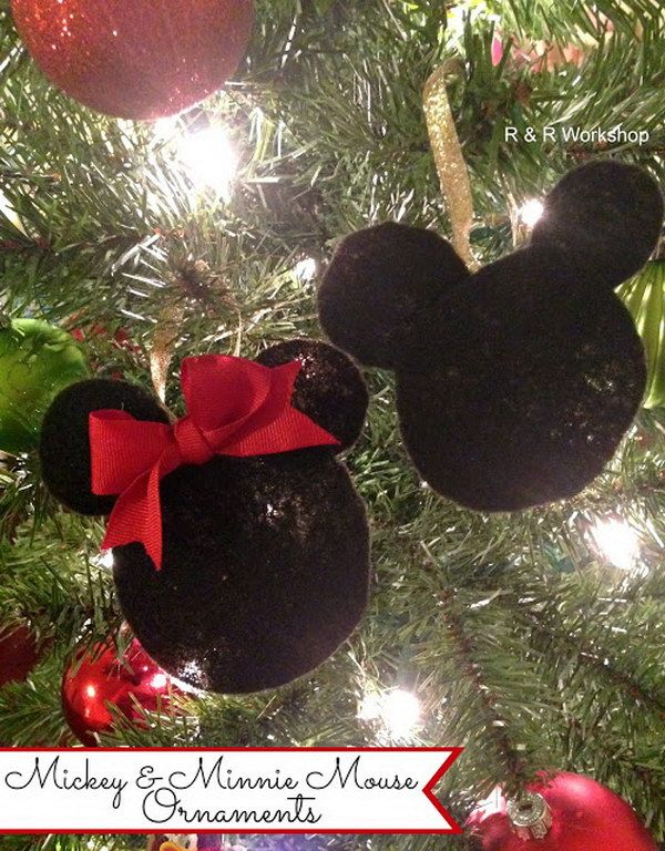 diy mickey and minnie mouse ornaments - Homemade Mickey Mouse Christmas Decorations