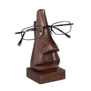 Asha Handicrafts Handmade 6 Inch Wooden Face Eyeglass Holder India