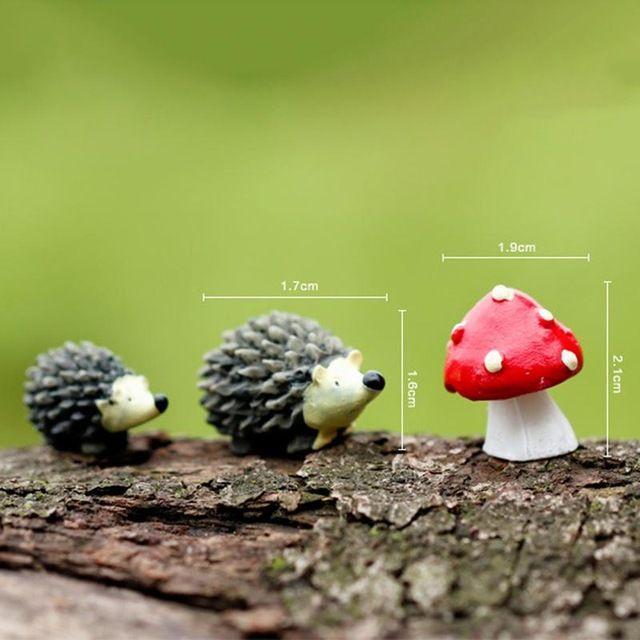 3 Pcs/ensemble Artificielle mini hérisson avec red dot champignon ...