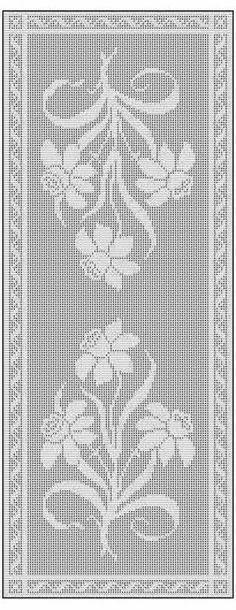 Filet Crochet Table Runner Free Chart Pattern | Läufer und Deckchen