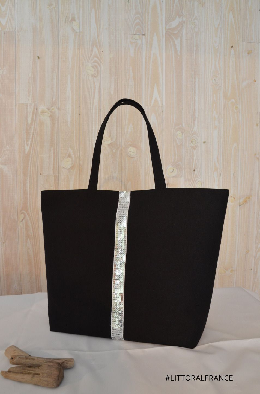 c158c2ba41 Sac cabas coton noir et argent interieur coton lin littoral-france #tote bag