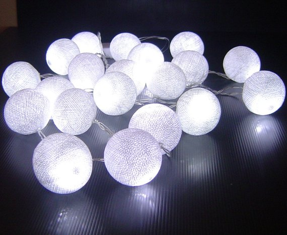 White Cotton Ball Battery Operated LED Fairy Lights in 2018