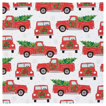 Retro Pickup Truck Santa Belts Wrapping Paper Assorted Styles Wondershop Christmas Red Truck Red Truck Christmas Tree Christmas Tree Wrapping Paper