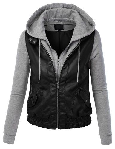 Womens Faux Leather Zip Up Moto Biker Jacket With Hoodie - Leather & Faux  Leather - Shoes - We Try Our Best To Provide Your Requirements At Prices  That You ...