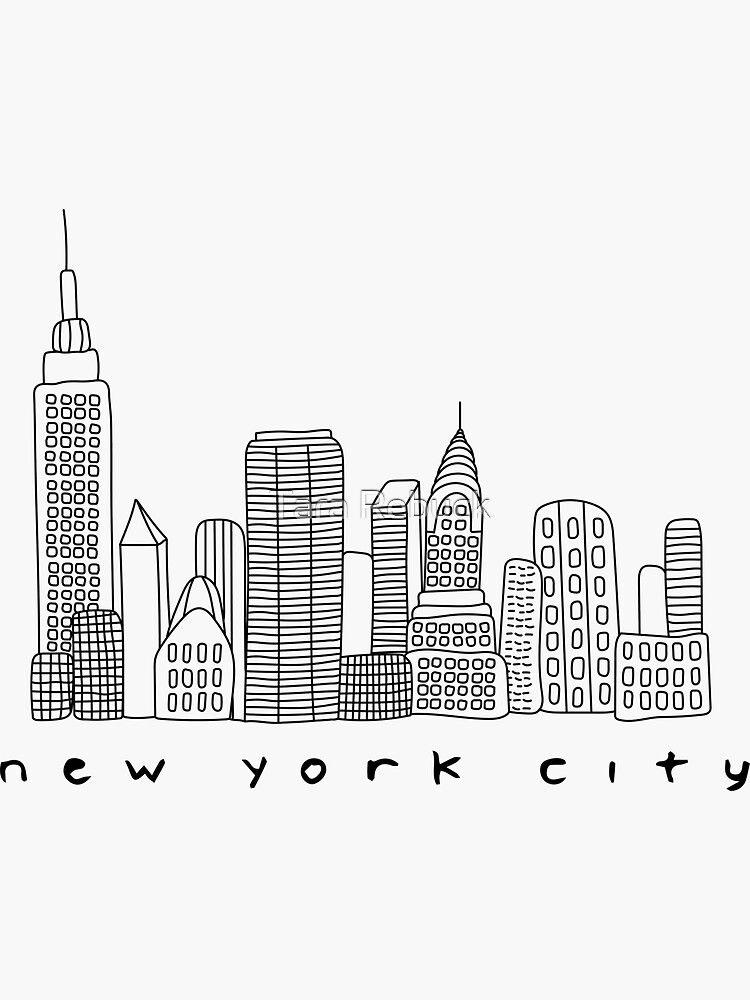 New York City Skyline Sticker By Tara Rebuck City Skyline Skyline Drawing Skyline