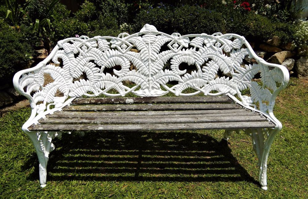 Antique Victorian Cast Iron Garden Bench White Fern Amp