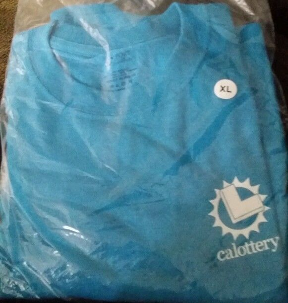 California Lottery promotional T-shirt XL Light Blue