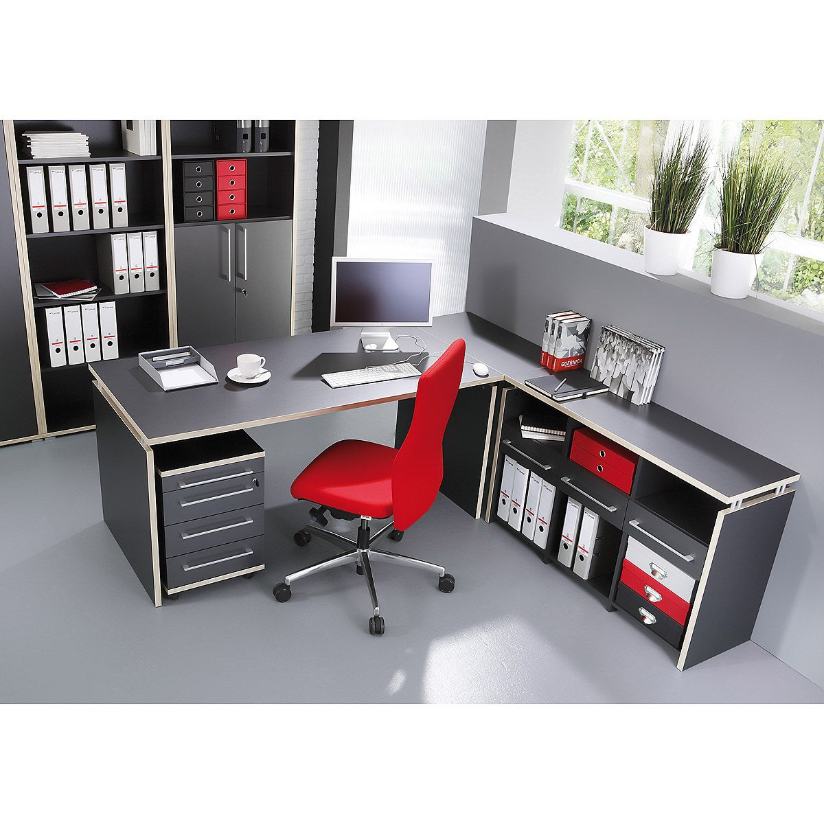 Eck Schreibtisch Duo 2 Burotisch Computertisch Anthrazit Rosales Von Germania Ebay Wohn Buro Buromobel Schreibtisch Burotisch