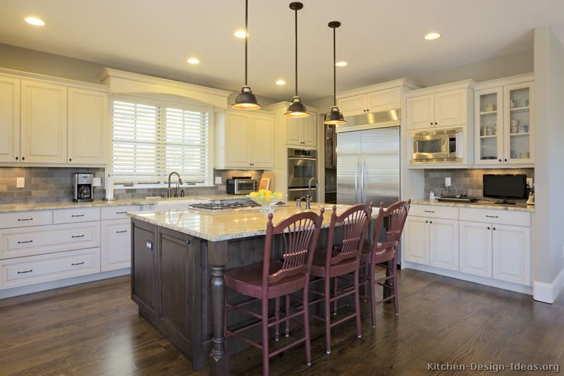Kitchen Cabinets And Islands kitchen of the day: two-tone kitchens in traditional homes