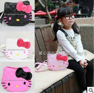 Novos meninas PU bolsas de marca mulheres mini-Olá Kitty bolsa crianças marca de couro Olá saco vaquinha shiping livre