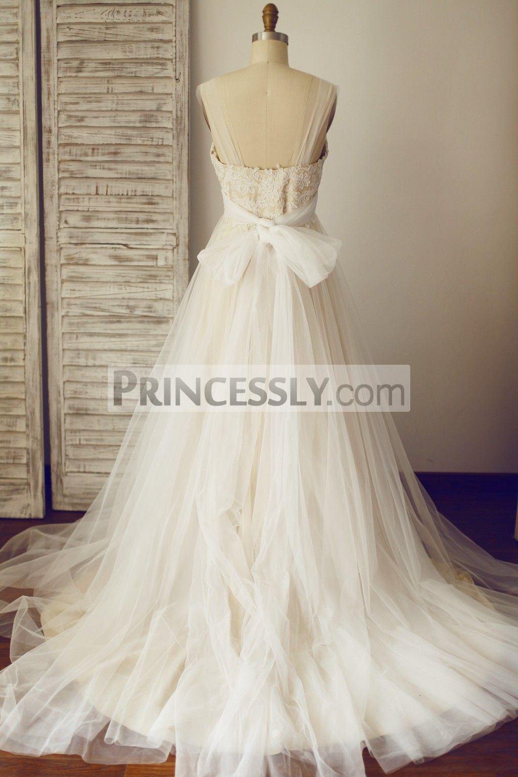 Champagne and ivory wedding dress  Sheer Illusion Lace Tulle Wedding Dress with Champagne Lining