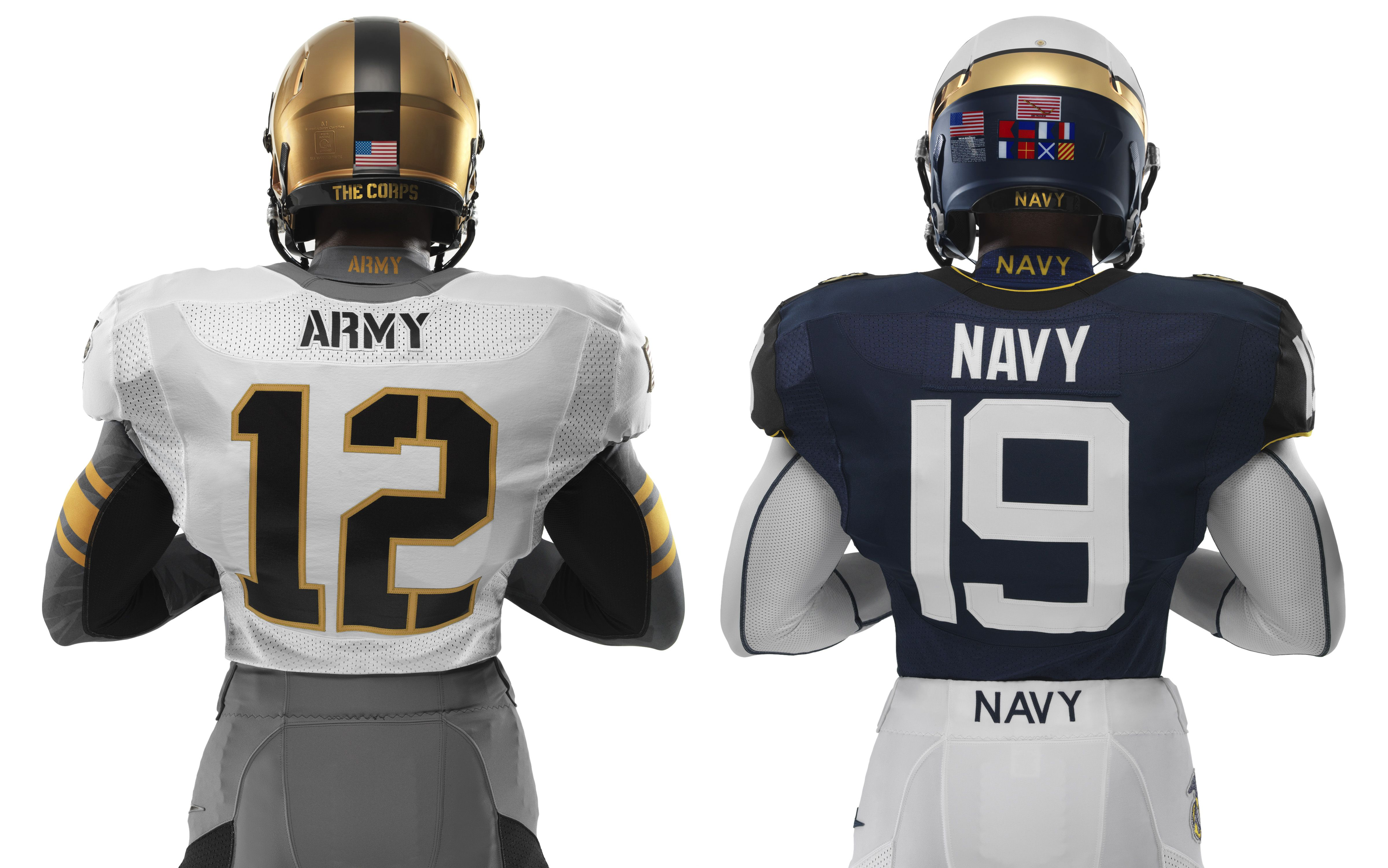 The back of Army and Navy's uniforms for the ArmyNavy