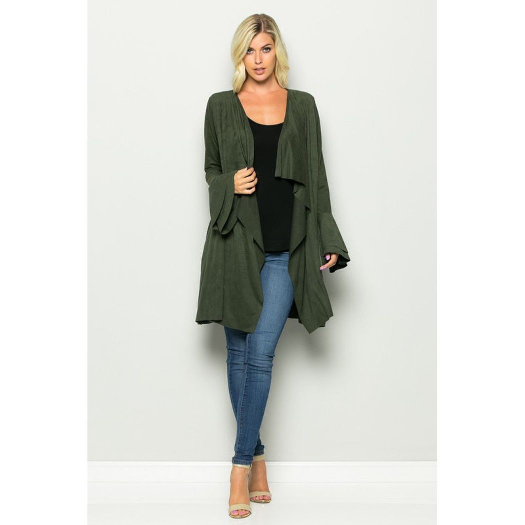 JED Women's Vegan Suede Waterfall Cardigan with Double Layer Bell ...