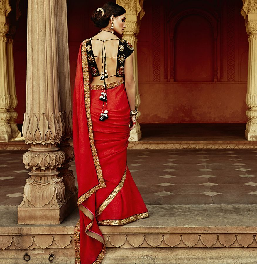 Wedding saree blouse design red a beautiful ethnic collection by tisha saksena  indian wedding