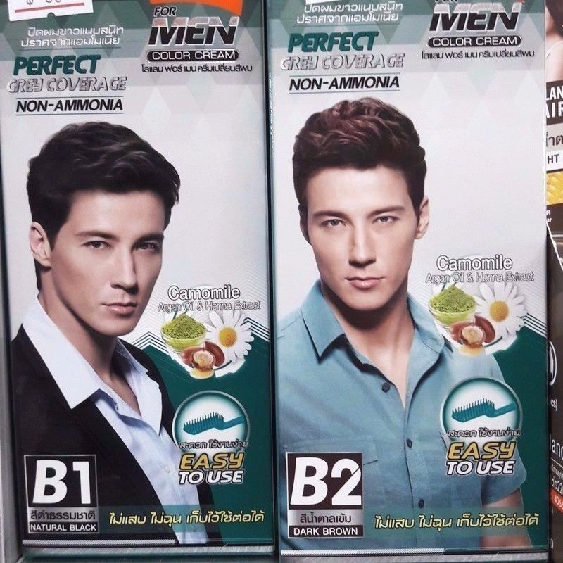 Men Color Cream Hair Permanent Black Brown Perfect Grey Coverage