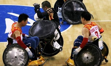 Wheelchair rugby: One of my favourites. Brutal! #joyofsport
