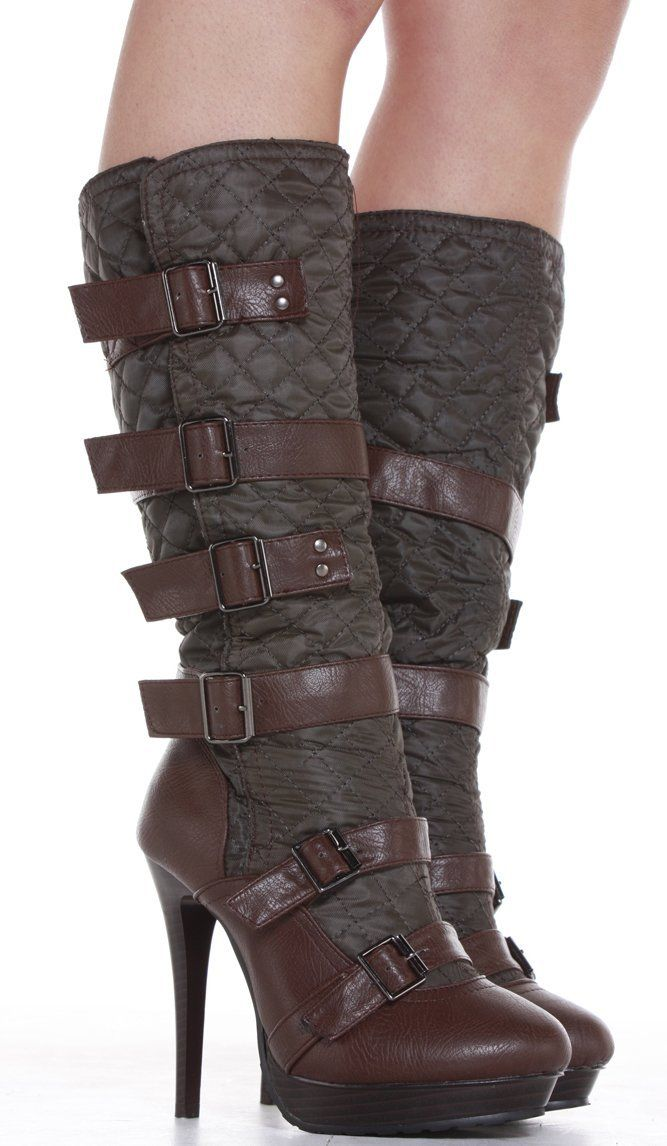 Ladies Platform Brown Quilted Stiletto High Heel Womens Knee High Boots Size 3 4 5 6 7 8 Wi Womens Knee High Boots Fashion Boots High Heels Stilettos