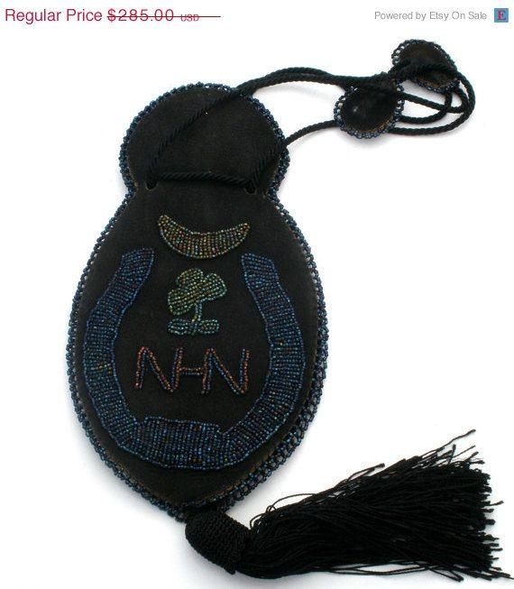 SALE Victorian Hand Bag,  Kid Leather, Glass Beads, 3 Leaf Clover, Black Kid Leather,Victorian Purse,Antique Purse,Handmade Bag