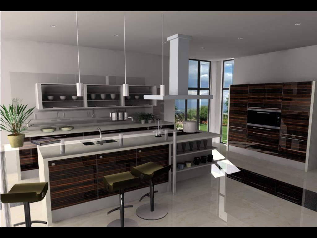 modern kitchen design modelled and rendered in 2020s