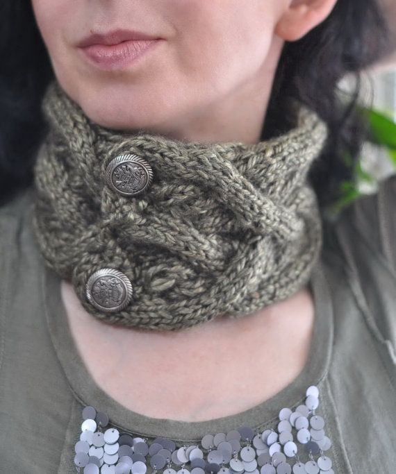 Celtic Heart hand knit neckwarmer headband earwarmer unisex cable ...