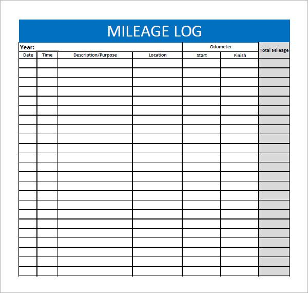 Form Template Mileage Log Form Microsoft With Reimbursement Irs