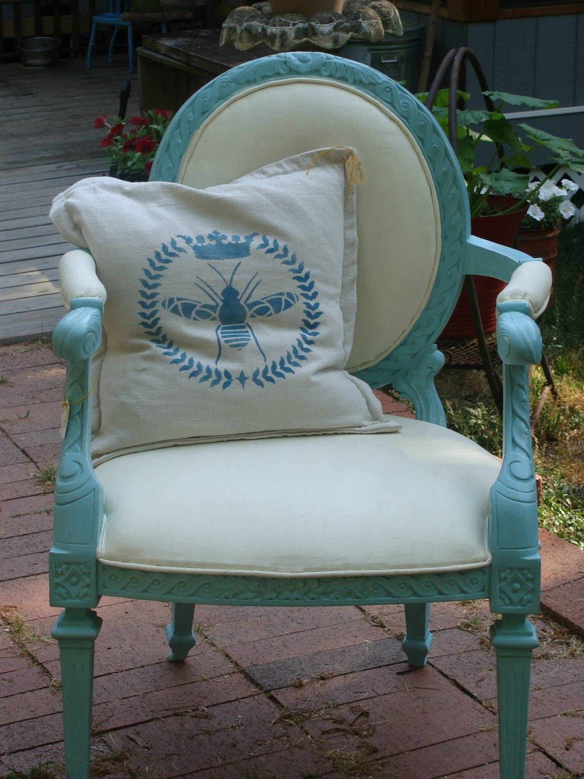 Red Tin Inn Silhouette stencil on drop cloth pillow...chalk painted french chair
