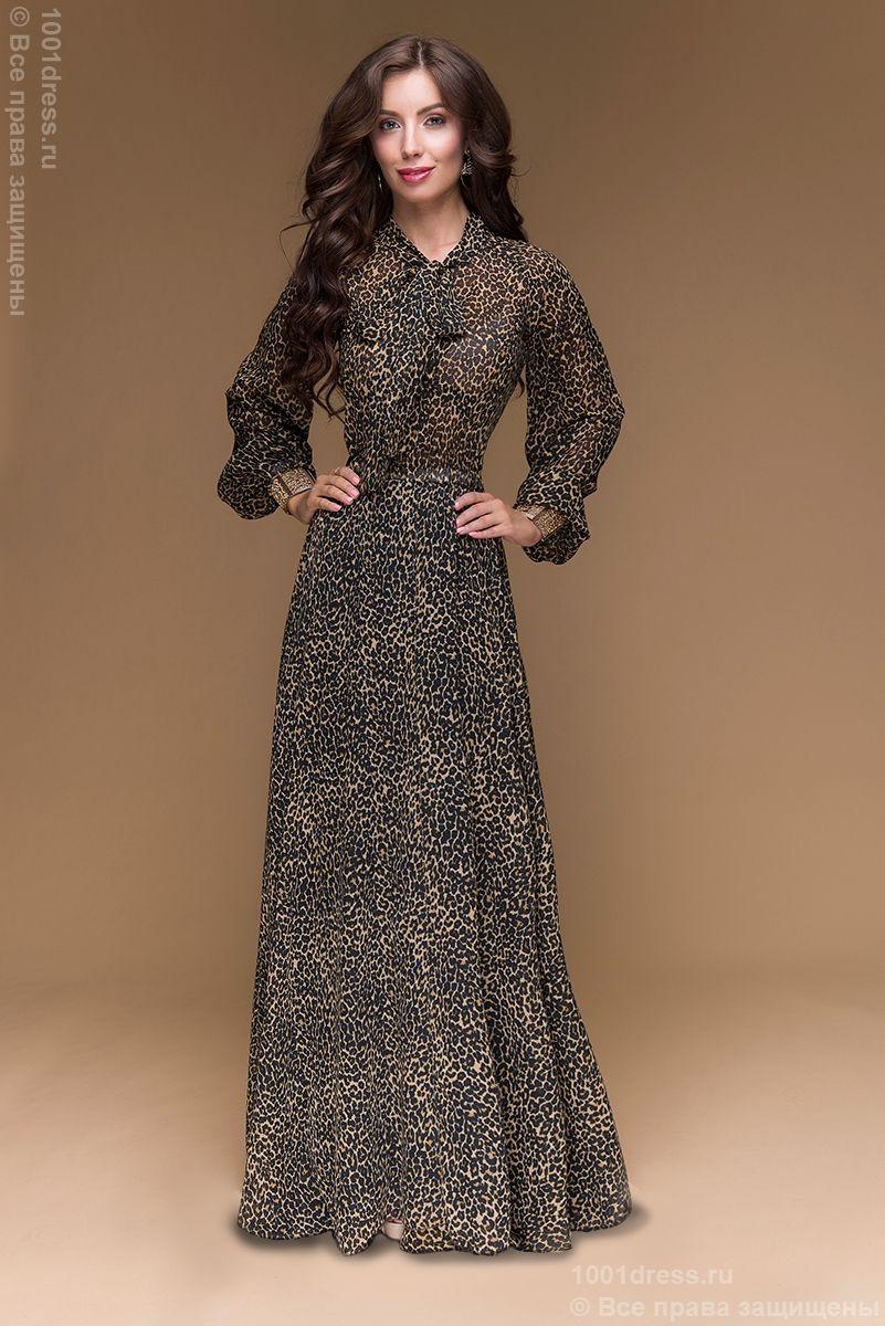 e4e91a493f72a7c Купить шифоновое вечернее платье в пол с леопардовым принтом и бантом на шее