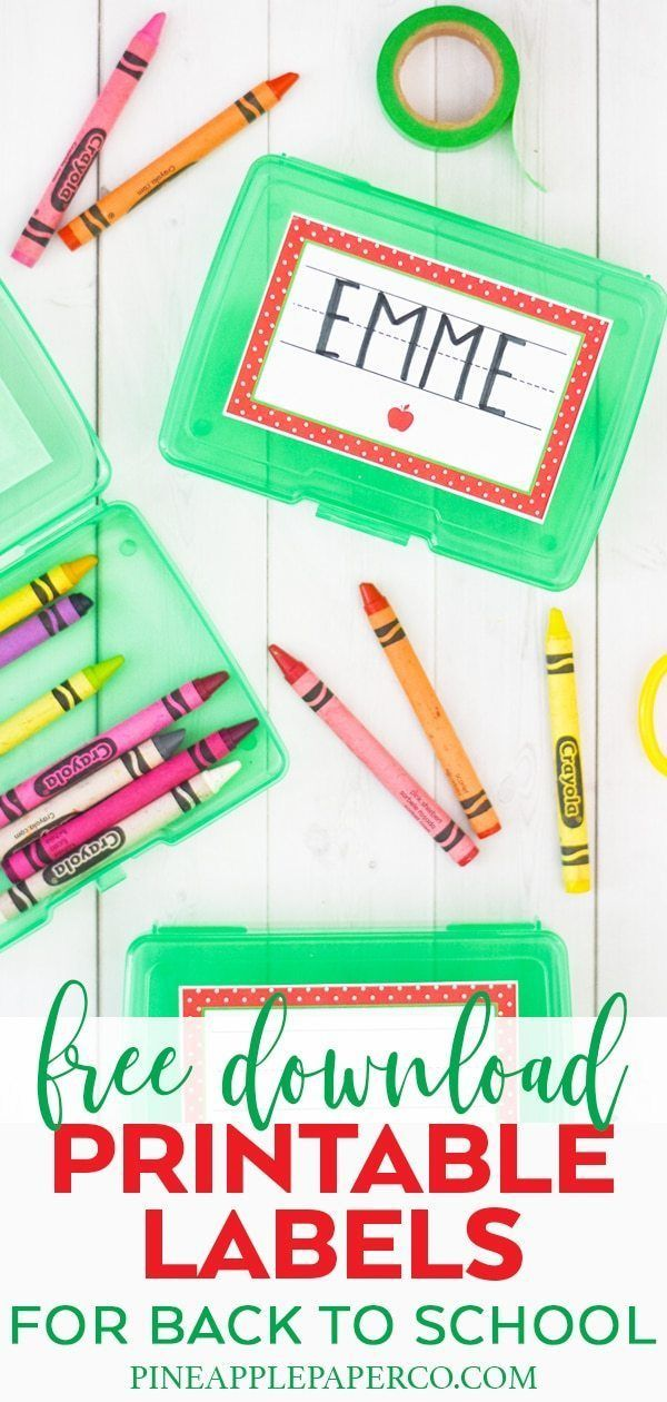 Free Printable School Labels is part of Free birthday printables, School labels, Free birthday stuff, Labels printables free, Birthday party printables free, School name labels - Download FREE Back to School Printable Name Labels for Crayon Boxes, Personalized School Labels, School Supplies, and Name Labels by Pineapple Paper Co