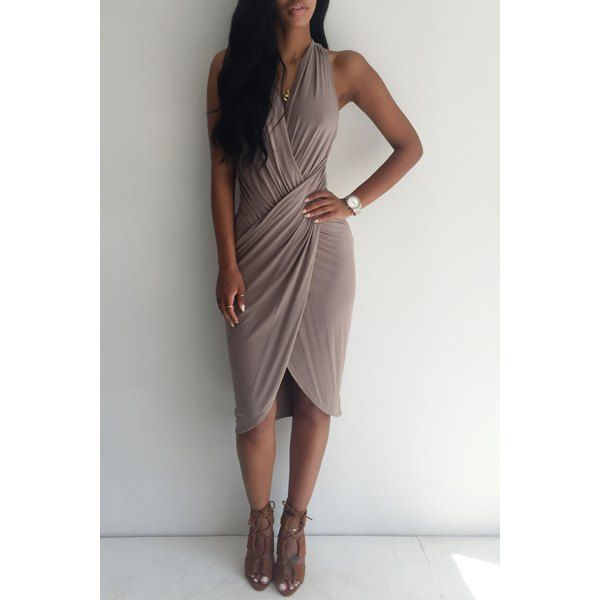 Sexy V-Neck Solid Color Pleated Sleeveless Slit Midi Dress For Women