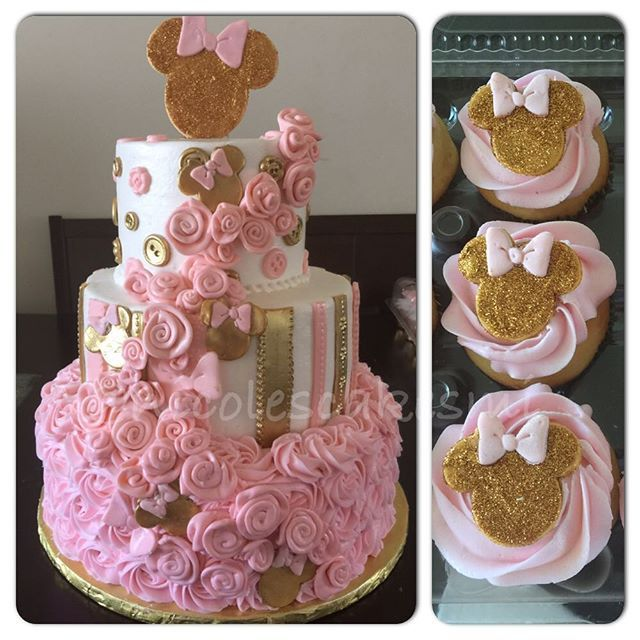 Pink And Gold Minnie Mouse Baby Shower Cake And Matching Cupcakes