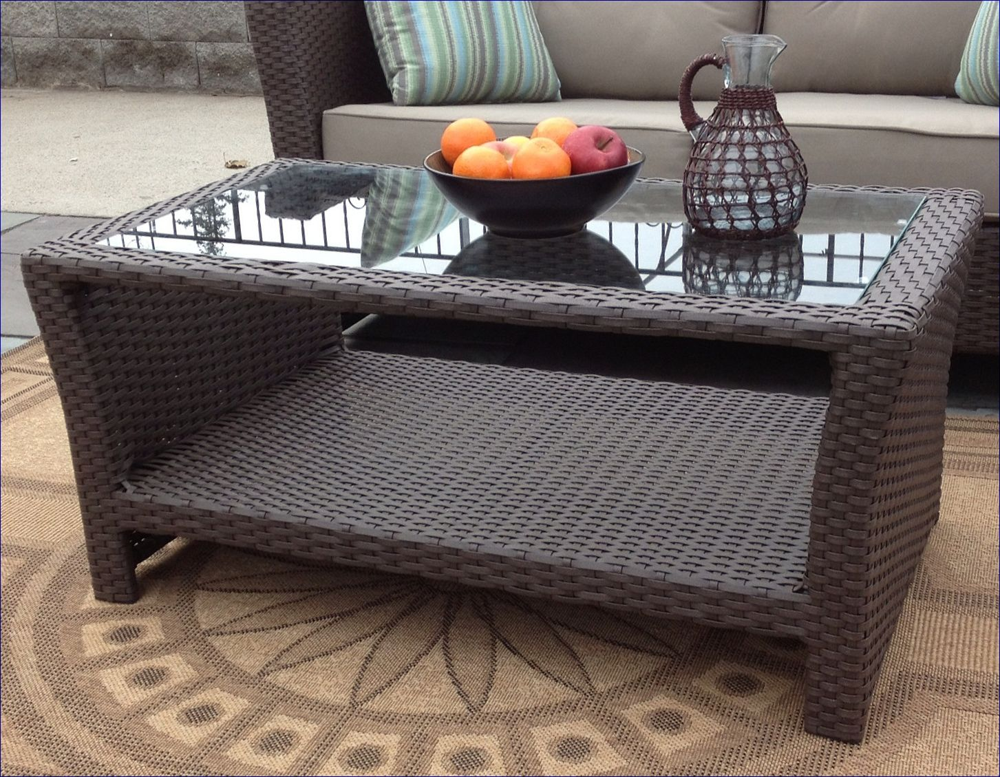 Sanibel Outdoor Wicker Coffee Table With Glass Top Via