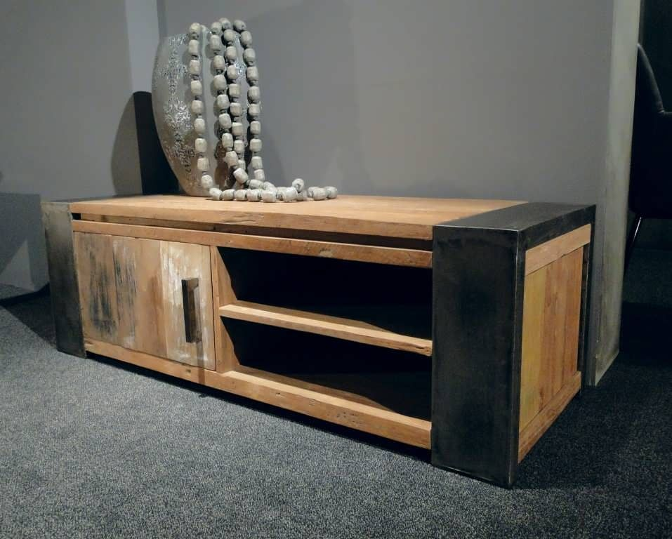 Vinyl Steigerhout Look : Industrieel tv meubel asmund steigerhout furniture unieke