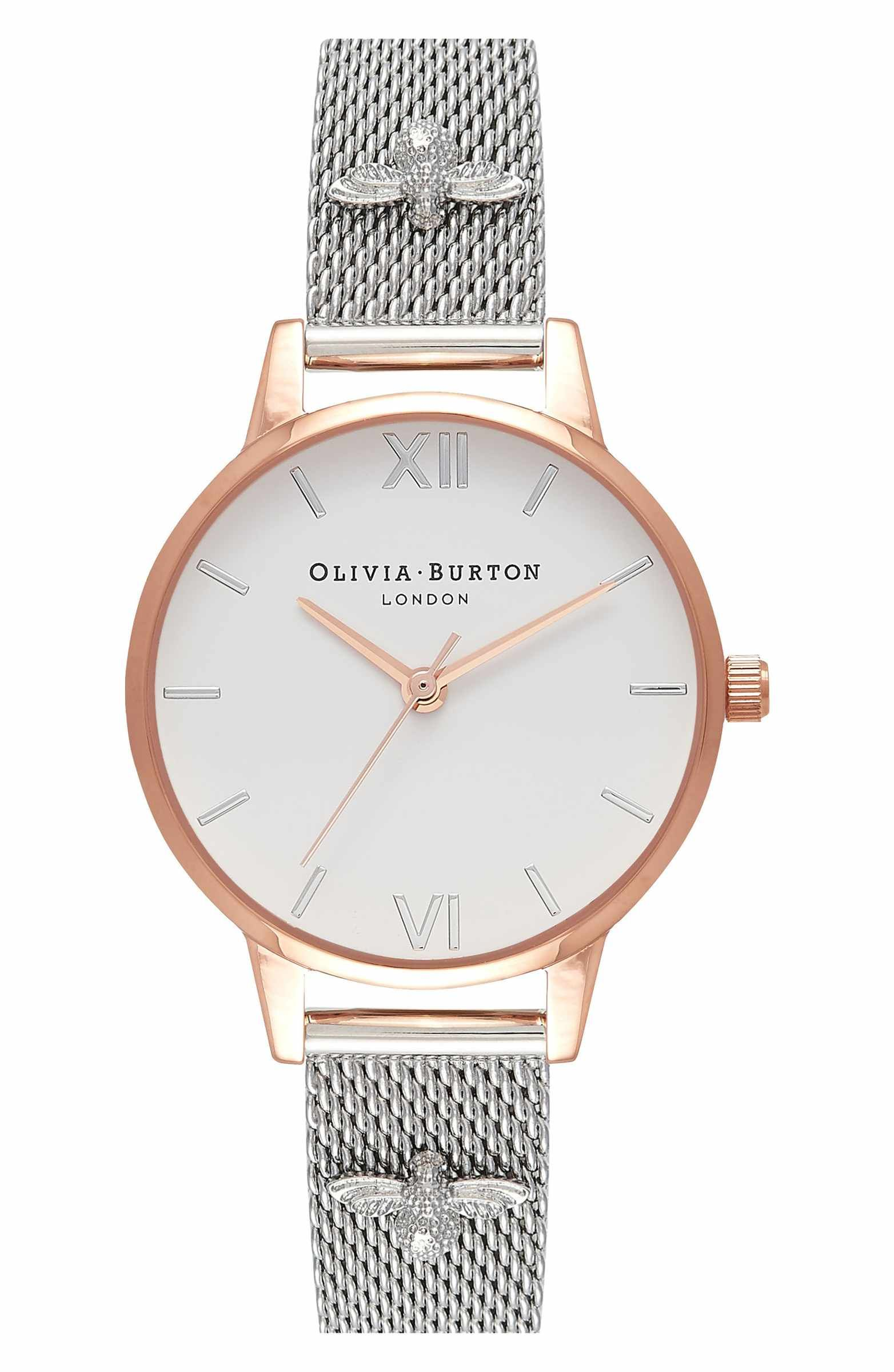 burton olivia shopping jewel watch bee mesh strap and pin watches