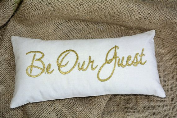 be our guest pillow 30%Sale Be Our Guest Pillow Gold Embroidered Guest Room Welcome  be our guest pillow