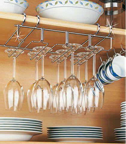 Etagère à verre suspendue en acier inoxydable avec support à tasse