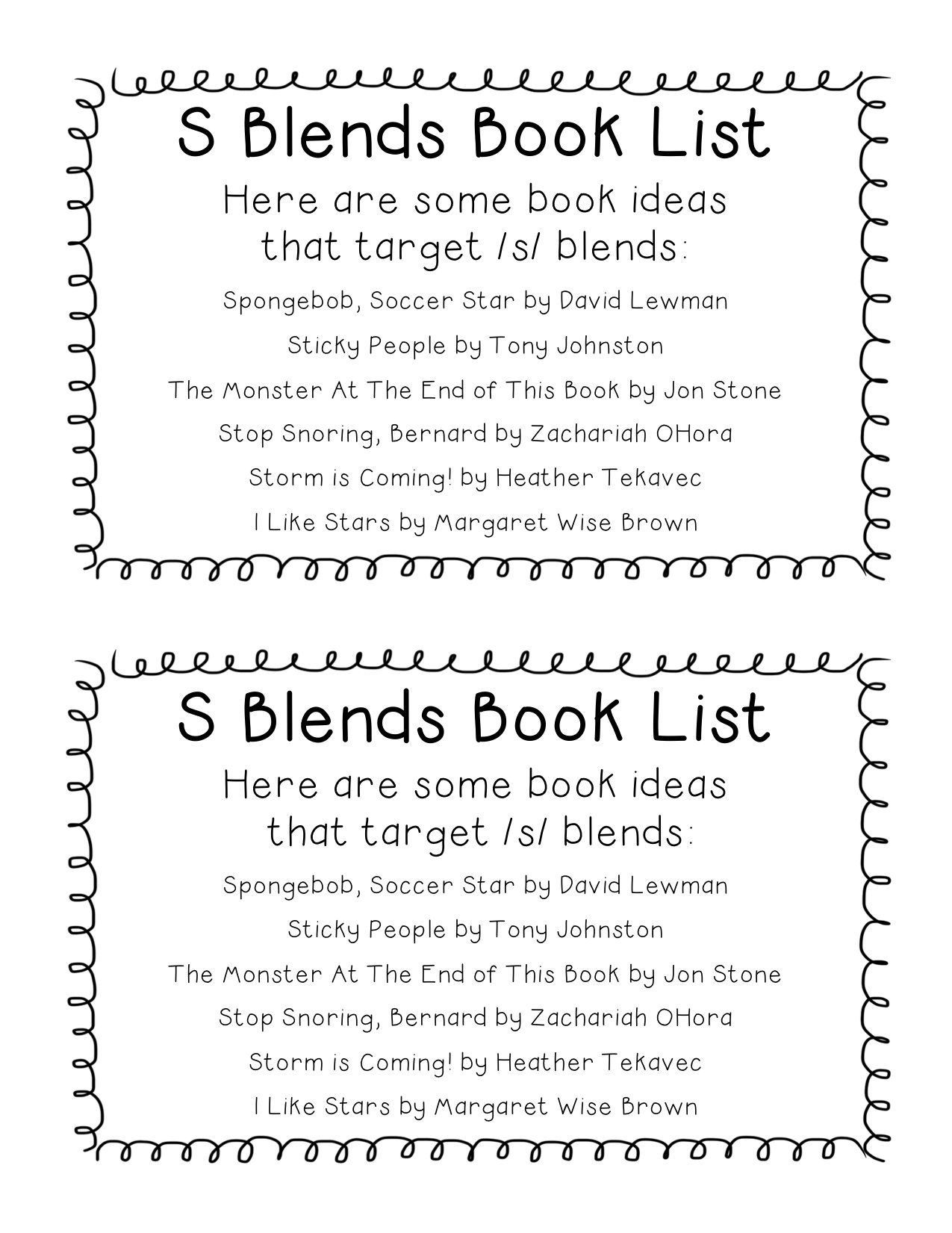Book Lists For Later Developing Speech Sounds Freebie