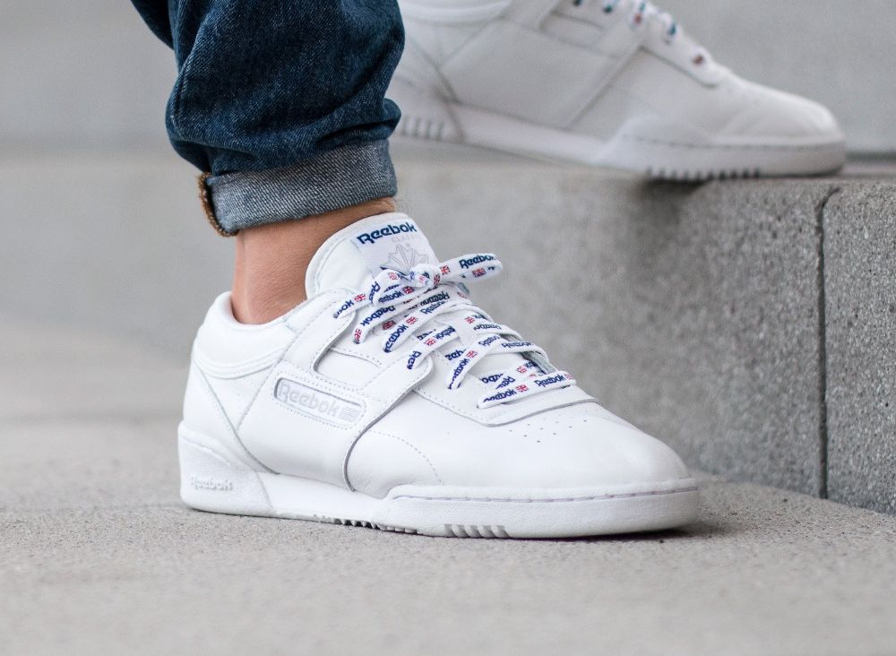 Reebok Workout Lo Clean 1895 (blanche) 'Printed Laces