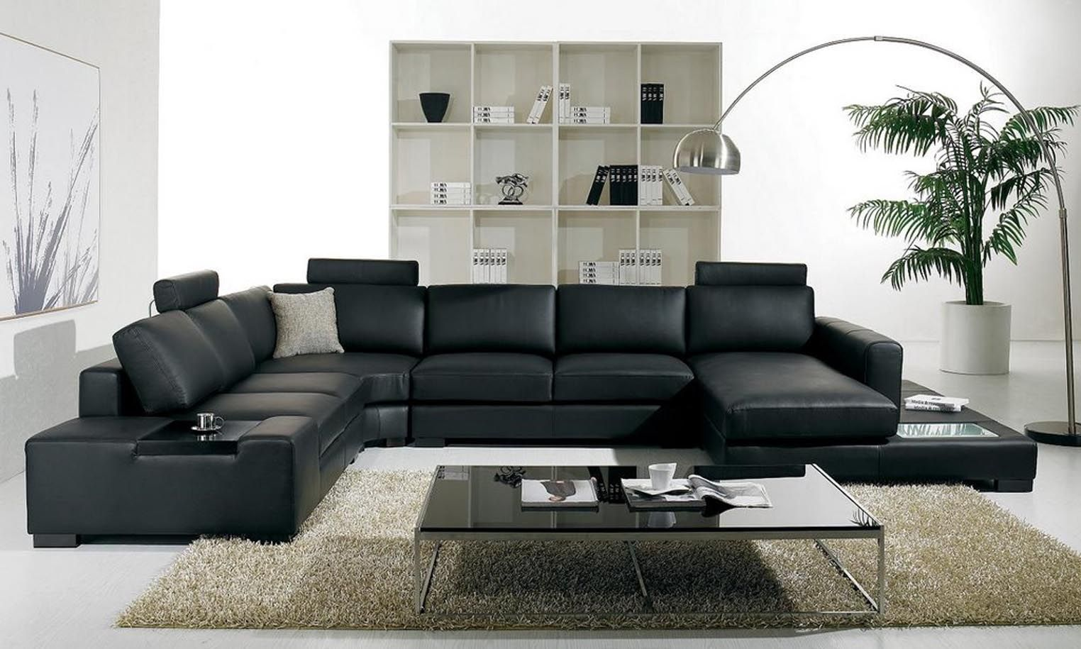 Simple In Modern Living Room Sets Uses Black Leather Sofa Gl Coffee Table And Curve Standing Lamp Pictures Photos Images