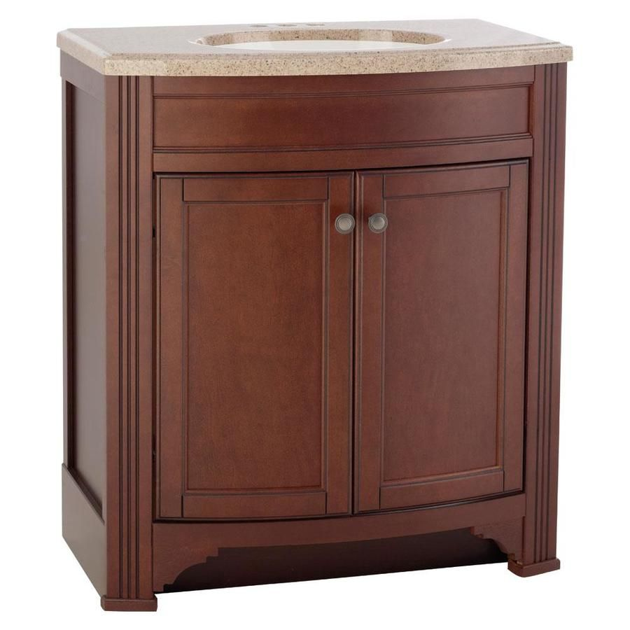 Style Selections Delyse 30 75 In Auburn Integral Single Sink Bathroom Vanity With Solid Surface Top